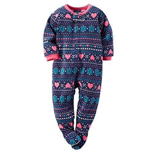76580df36 Carters Baby Girls 1-Piece Fleece PJs Heart Fairisle Print 12M. By Fleece  Pajamas ...