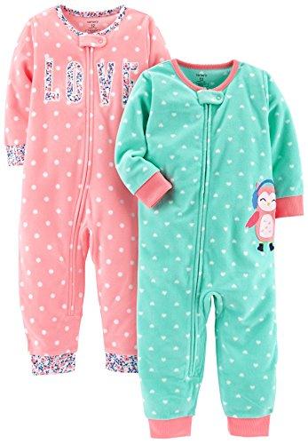 NWT Carters Girls Pajamas Fleece Set 2 pack Footed Fleece baby girl