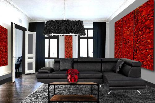 un salon moderne en rouge et noir