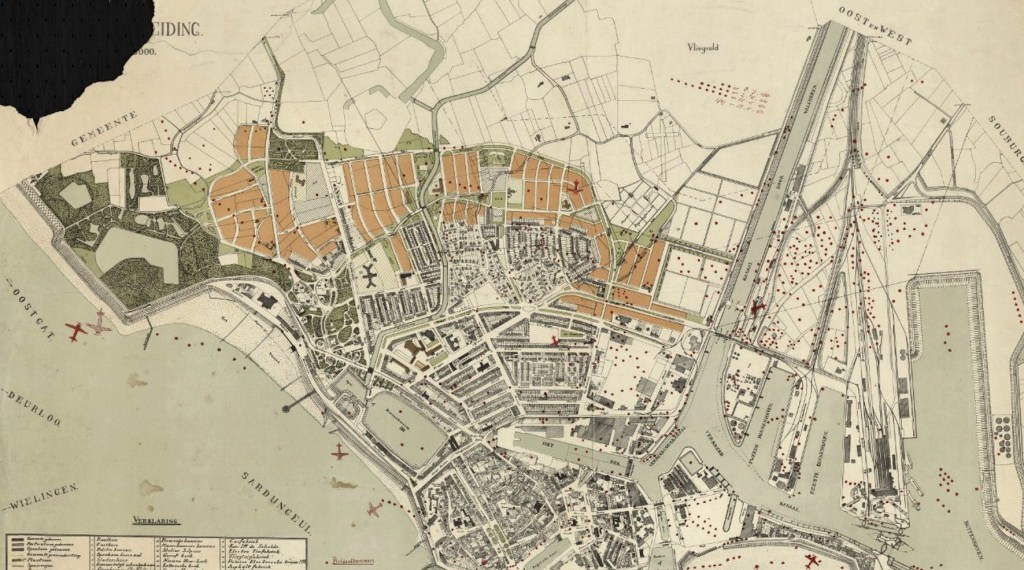 Plattegrond van Vlissingen met ingetekende bominslagen en neergestorte vliegtuigen