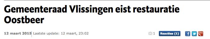 Gmeenteraad Vlissinen eist restauratie Oostbeer