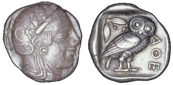 Little owl on ancient Greek coin