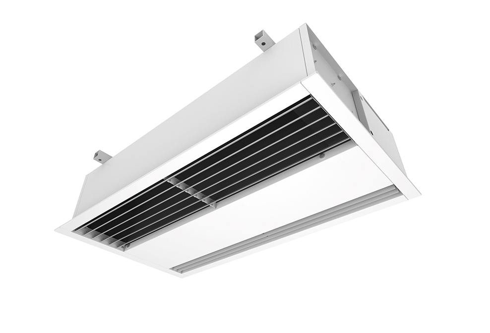 recessed air curtains suspended ceiling concealed heated or ambient