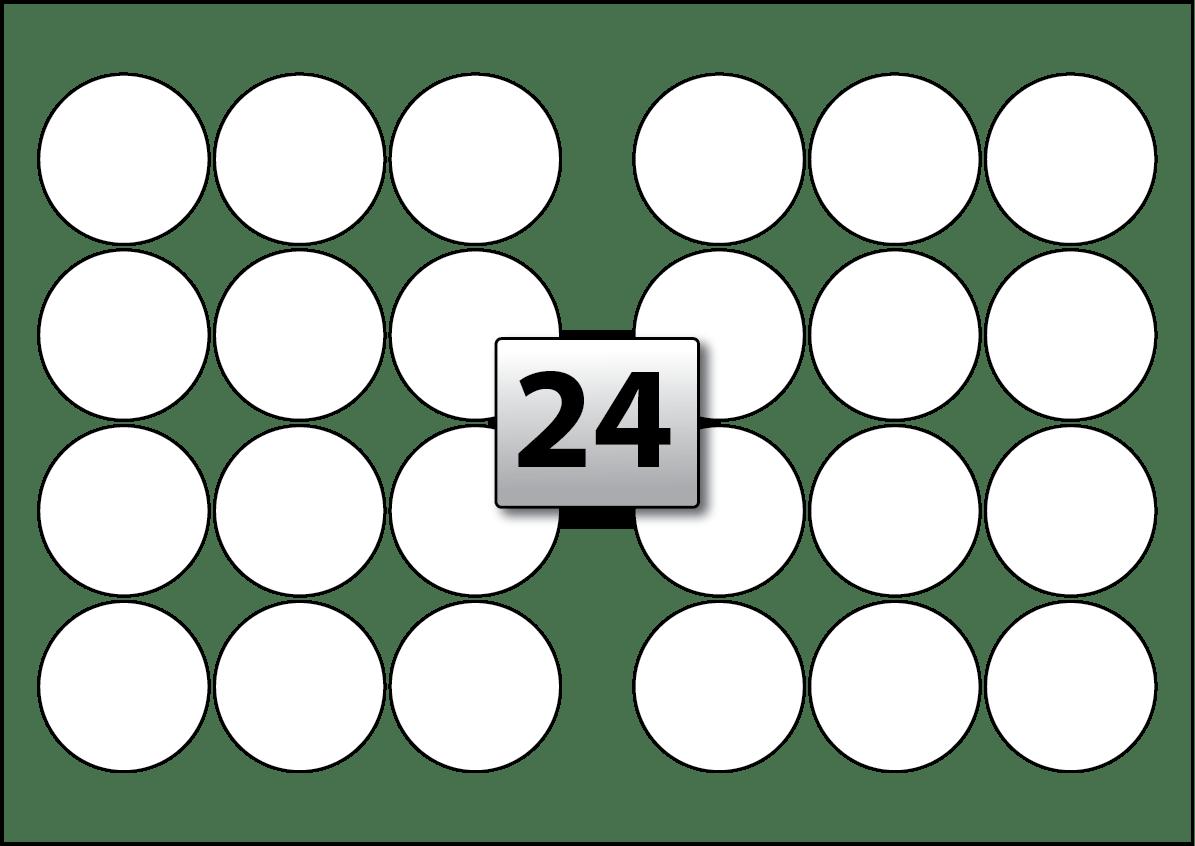 24 Round Labels Per A3 Sheet 60 Mm Diameter