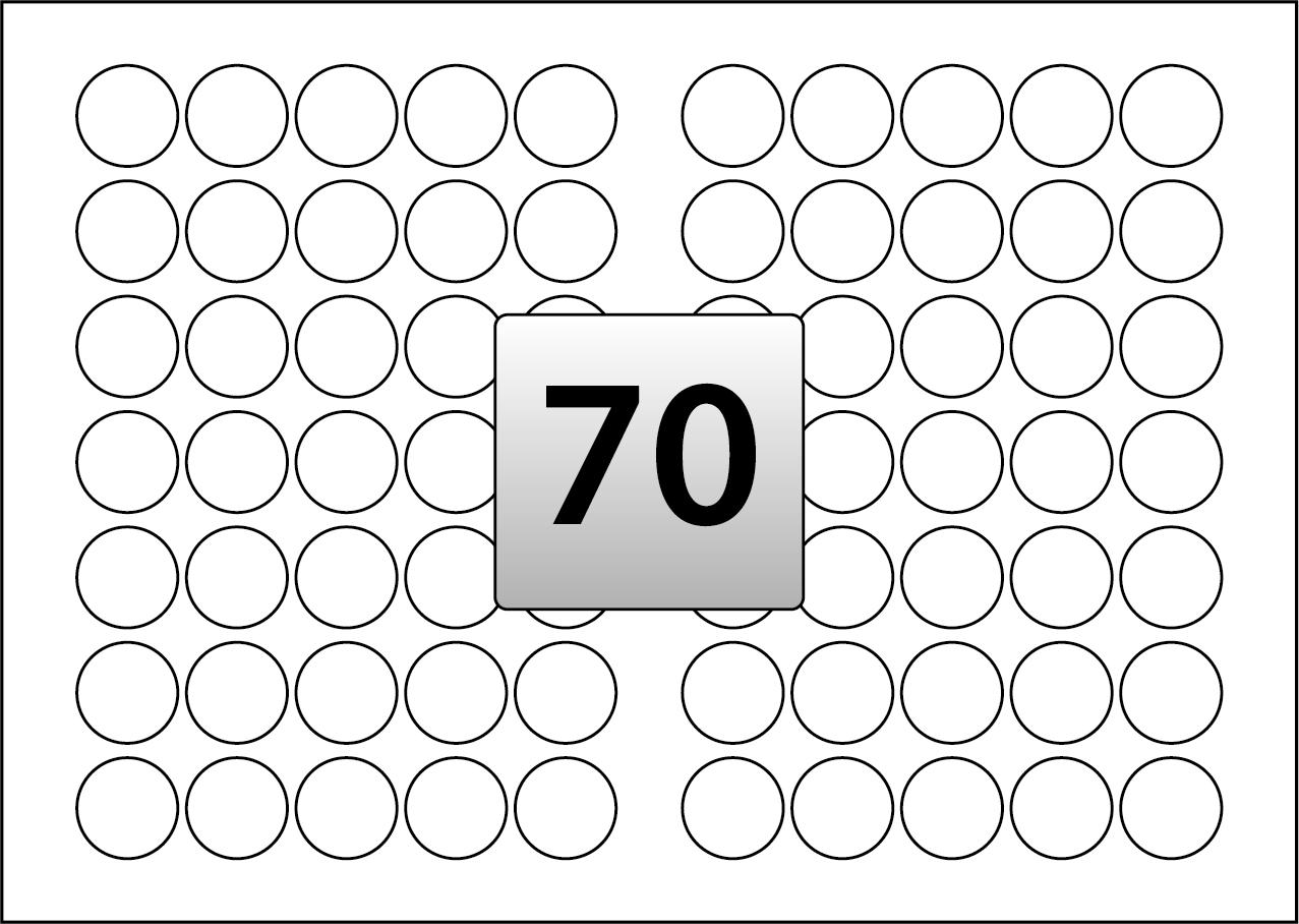 70 Round Labels Per Sra3 Sheet 35 Mm Diameter