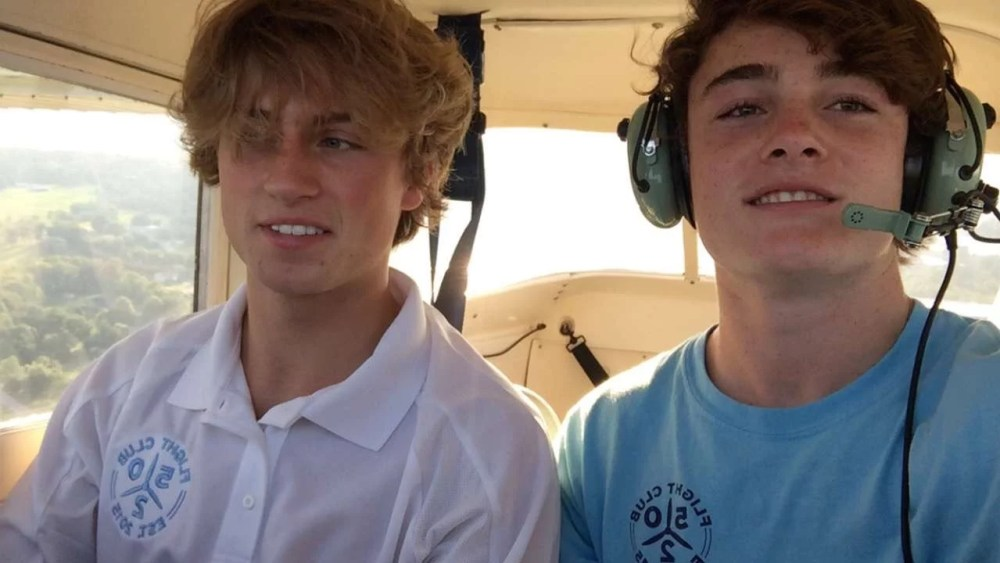 The President of Flight Club 502, Henry Putney, flying with his second passenger as a licensed pilot.