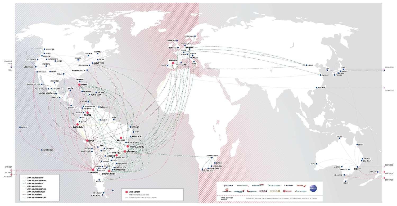 LANTAM Airlines Destinations Map