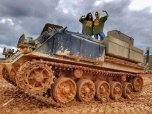 Girls driving tank
