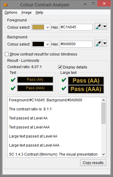 Snapshot of the Colour Contrast Analyser tool