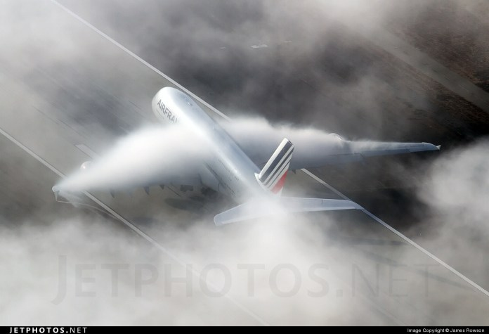 Air France A380 F-HPJH departing from LAX in the Marine layer