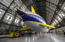 Goodyear airship in hangar
