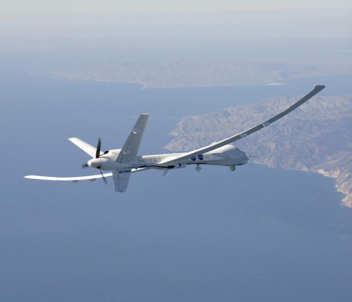 General Atomics' uninhabited Altair flew a NOAA/NASA coastal mapping, mammal observation and marine monitoring mission off the Californian coast in late 2005.