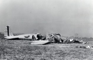 The crashed Boeing 299 Flying Fortress NX13372 at Wright Field 30 Oct 1935. Photo: US Air Force
