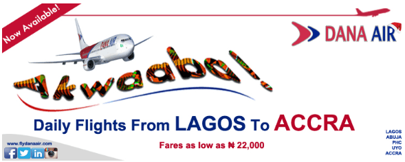 Dana Air Daily Flights Lagos to Accra