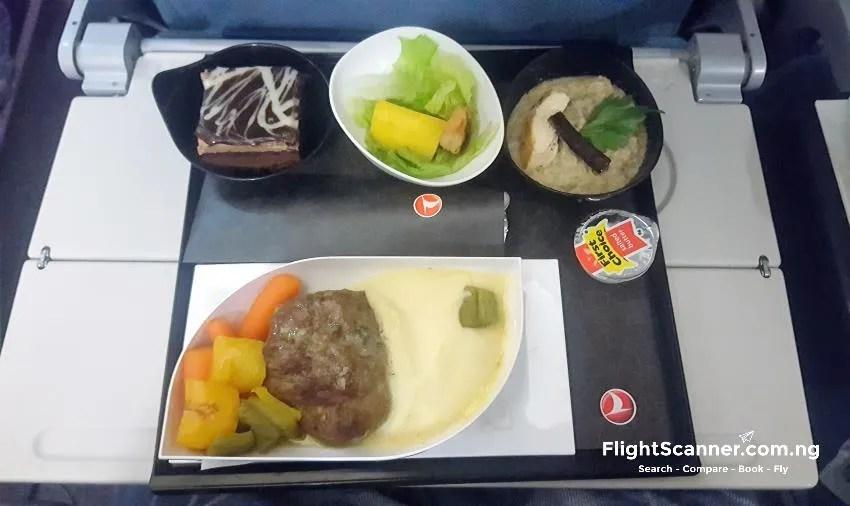 Turkish Airlines Economy Class Meal, Roast Vegetables, hamburger, mashed potato