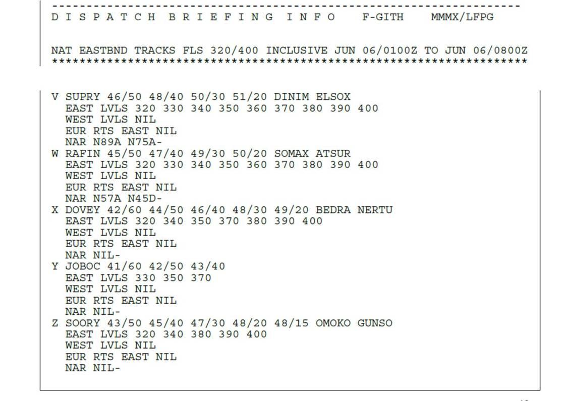 Message Tracks MEX-CDG