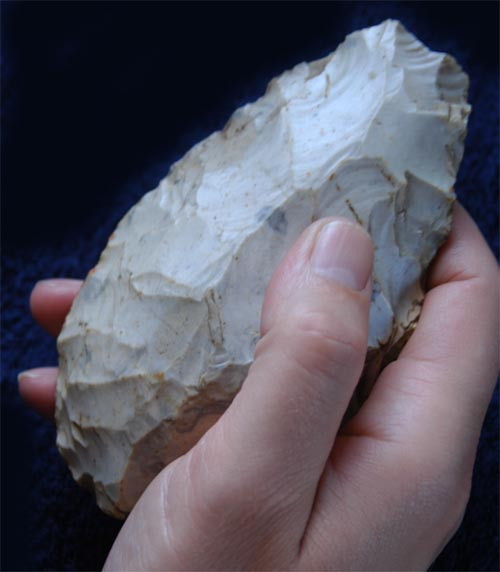 A hand axe is a prehistoric cutting tool.