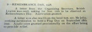Remembrance Day Proposed 1926