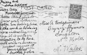 A postcard to his sister Ada
