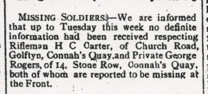 GARRETT, E.E. Died of Wounds. County Herald 25th Aug 1916 2