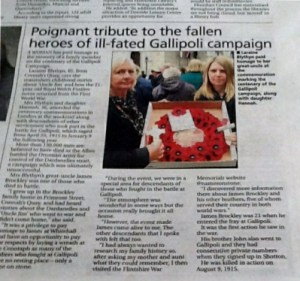 Newspaper cutting of Laraine & Hannah's visit to Whitehall 25th April 2015
