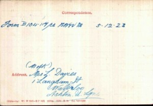 Reverse of Army Medal Card