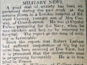 LATHAM, Robert & Military News, Flintshire Observer 17th Oct 1918 (Page 4 Col 7) - 2
