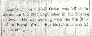 Neil & Walter OWEN (Photo-s) Flintshire Observer 18th Nov 1915 Part 1 - 3