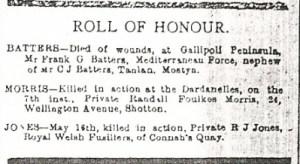 Roll of Honour County Herald 3rd Sept 1915. Randall Foulkes MORRIS - 2