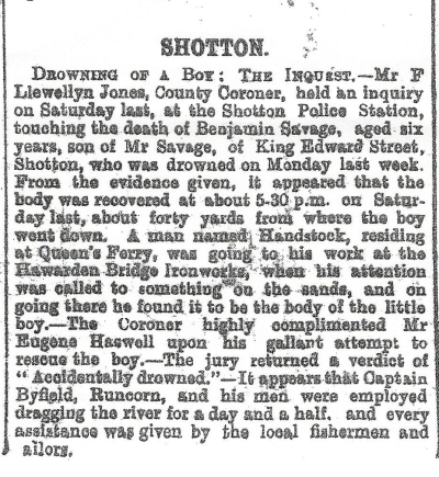 SAVAGE, Benjamin - Drowning in the Dee - County Herald 24th August 1906 -2