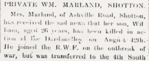 Wm. MARLAND Flintshire Observer 23rd Sept 1915 Part 1 - 2