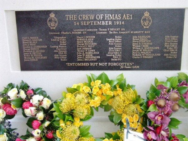 On 14 September 2011 this memorial to the crew of HMAS AE1 was unveiled at The Naval Heritage Centre, Garden Island, Sydney, Australia.