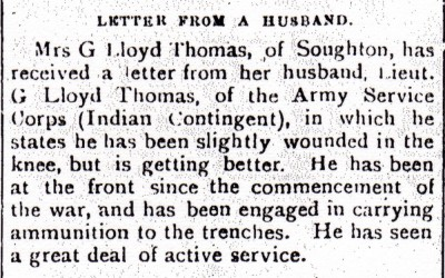 The new Mrs G Lloyd Thomas receives a letter from her husband (County Herald 22 October 1915)