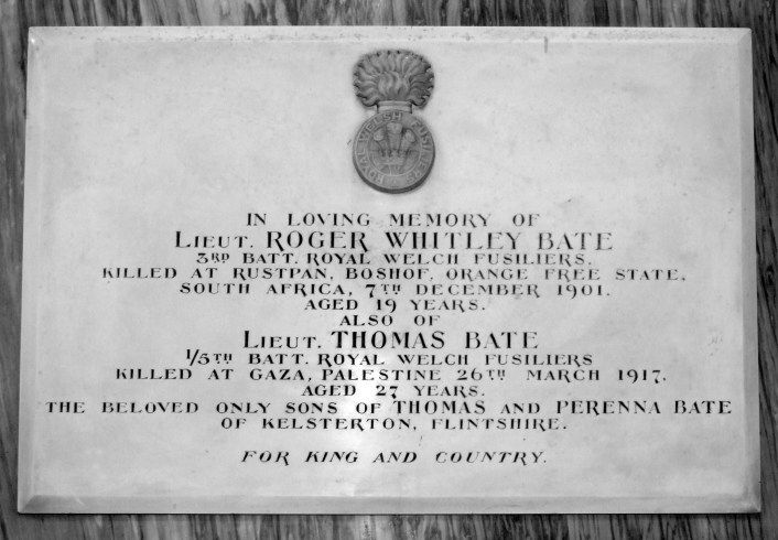 Memorial tablet in St Mark's Church, Connah's Quay with the wrong date of death for Roger