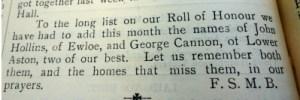 Hawarden Parish Magazine - HOLLINS, John and CANNON, George