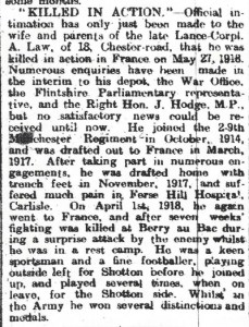 Law, Arthur, Killed in Action Flintshire Obs. 11th December 1919 -Page 8, Col 3