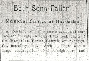 Memorial Service for the Tuck boys. Flintshire Observer 4th November 1915 Page 7 Col. 1 -4