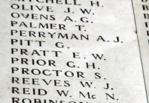 PITT, G. name on the Menin Gate. Photo taken on the 16th April 2016 by Mavis Williams