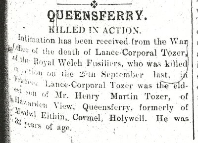 Lance-corporal Tozer 25th November 1915 Page 5 Col. 1