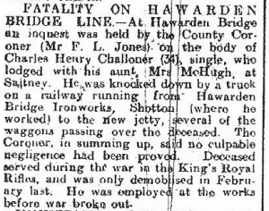 Fatality on Hawarden Bridge Line