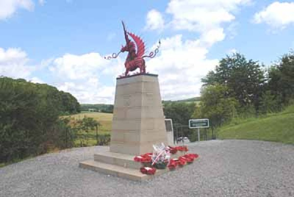 On July 1st 1987 a memorial to the 38th (Welsh) Division in the form of a Welsh Dragon, was placed overlooking Mametz Wood, at Mametz, Somme, France.
