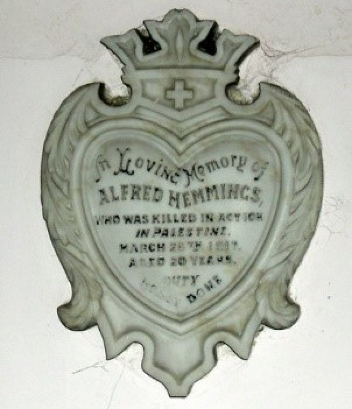 Memorial to Alfred in Trinity Chapel, Penyffordd