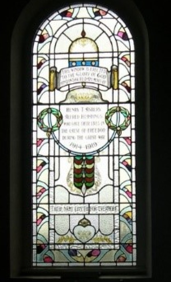 Memorial window to Alfred Hemmings in Trinity Chapel