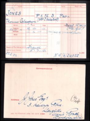 T G Jones medal card