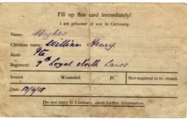 WW1-17-3 PoW card, reverse