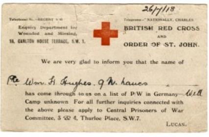 WW1-17-5 British Red Cross postcard re W H Hughes