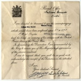 WW1-17-7 Letter re British Victory War Medal