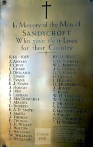 sandycroft ww1 plaque