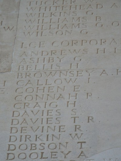 L/Cpl Robert Connah Thiepval Memorial