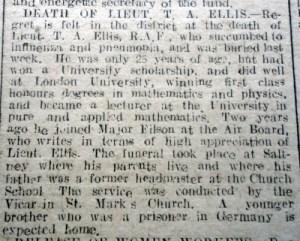 ELLIS,T.A. Lieu. Death of Flintshire Observer 12th December 1918 (Page 3 Col 4) - 2